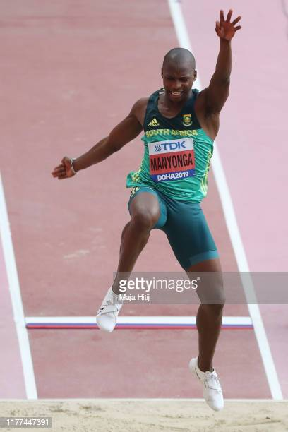 Luvo Manyonga of South Africa competes in the Men's Long Jump qualification during day one of 17th IAAF World Athletics Championships Doha 2019 at...