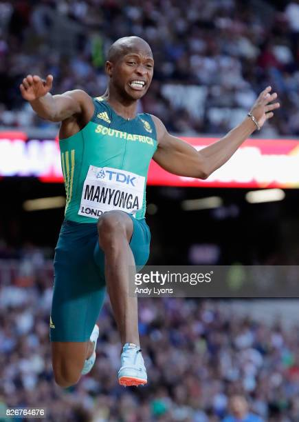Luvo Manyonga of South Africa competes in the Men's Long Jump during day two of the 16th IAAF World Athletics Championships London 2017 at The London...