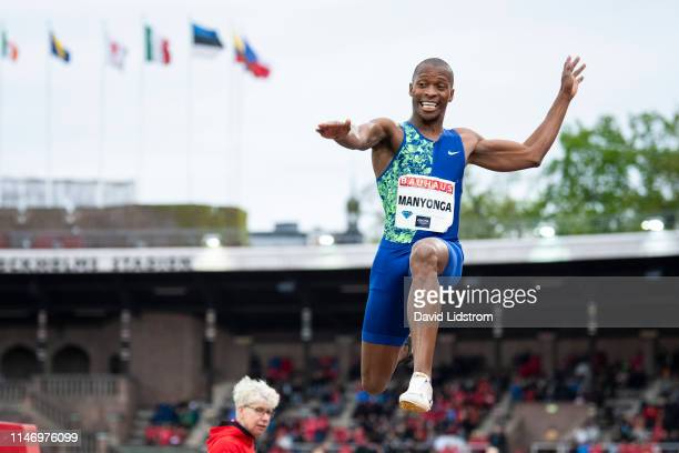 Luvo Manyonga of South Africa competes in the Men's Long Jump Final during the Stockholm 2019 Diamond League at Stockholms Olympiastadion on May 30...