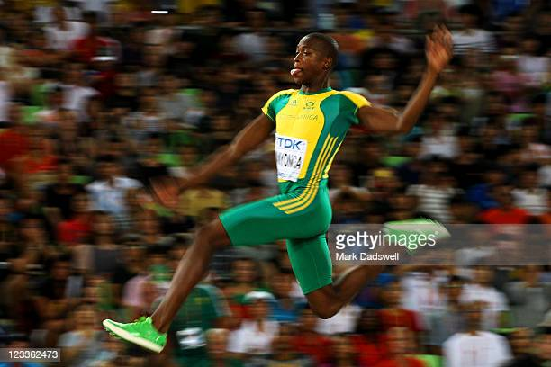Luvo Manyonga of South Africa competes in the Men's long jump final during day seven of 13th IAAF World Athletics Championships at Daegu Stadium on...