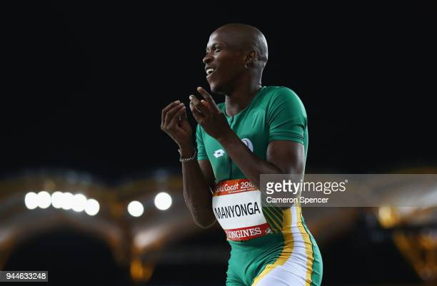 Luvo Manyonga of South Africa competes in the men's long jump final during athletics on day seven of the Gold Coast 2018 Commonwealth Games at...
