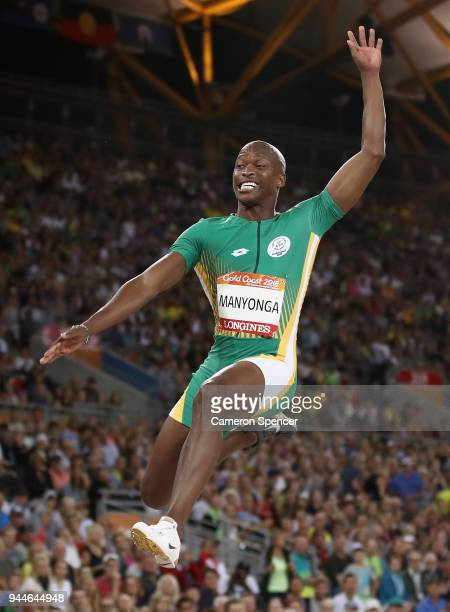 Luvo Manyonga of South Africa competes in the Men's Long Jump finalduring athletics on day seven of the Gold Coast 2018 Commonwealth Games at Carrara...
