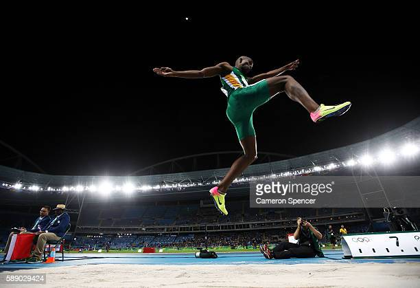 Luvo Manyonga of South Africa competes in the Men's Long Jump Qualifying Round on Day 7 of the Rio 2016 Olympic Games at the Olympic Stadium on...
