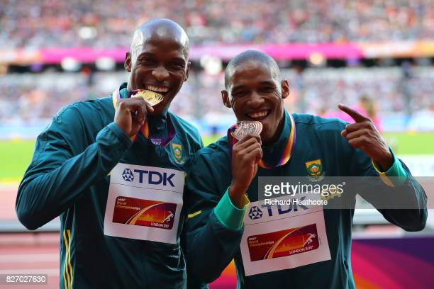 Luvo Manyonga of South Africa gold and Ruswahl Samaai of South Africa bronze pose with their medals for the Men's Long Jump during day three of the...