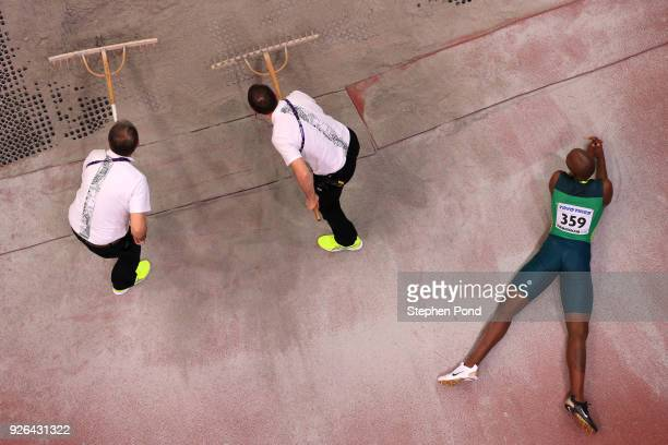 Luvo Manyonga of South Africa looks on in the Long Jump Mens Final during the IAAF World Indoor Championships on Day Two at Arena Birmingham on March...