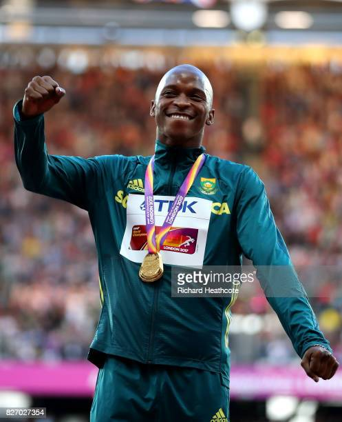 Luvo Manyonga of South Africa poses with the gold medal for competes in the Men's Long Jump during day three of the 16th IAAF World Athletics...