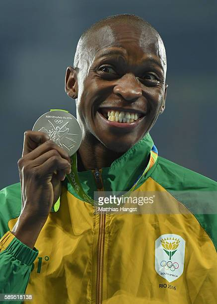 Luvo Manyonga of South Africa poses with the silver medal for Men's Long Jump on Day 9 of the Rio 2016 Olympic Games at the Olympic Stadium on August...