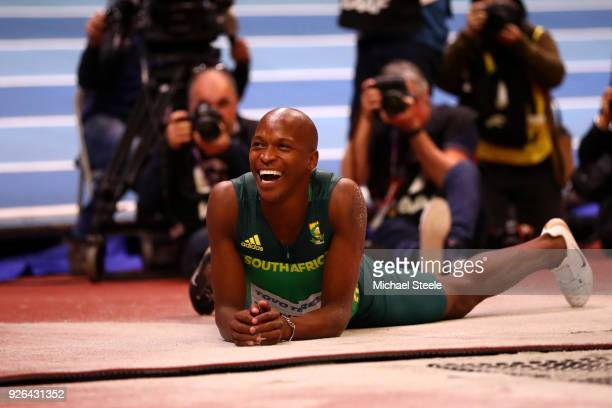 Luvo Manyonga of South Africa reacts in the Long Jump Mens Final during the IAAF World Indoor Championships on Day Two at Arena Birmingham on March 2...