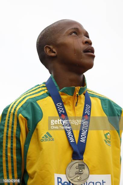 Luvo Manyonga of South Africa receives his gold medal for finishing first in the Long Jump Final on Day 4 of the 13th IAAF World Junior Athletics...