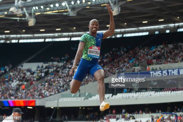 Luvo Manyonga taking part in the long jump during the Muller Anniversary Games at the London Stadium Stratford on Saturday 21st July 2019