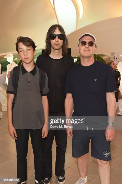 Lux Gillespie Bobby Gillespie and Gary Aspden attend the launch of the Palace x Adidas Wimbledon kit on June 27 2018 in London England