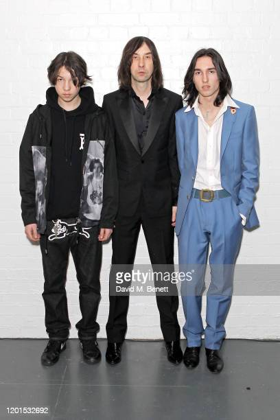 Lux Gillespie Bobby Gillespie and Wolf Gillespie attend the Burberry Autumn/Winter 2020 show during London Fashion Week at Kensington Olympia on...