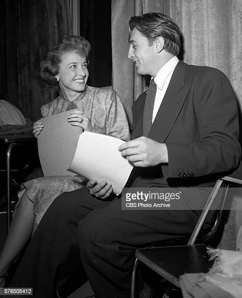 Lux Radio Theaters presentation of Till the End of Time featuring Robert Mitchum Laraine Day with producer William Keighley Pictured is Laraine Day...