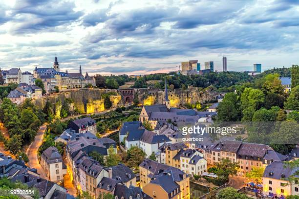 luxembourg at sunset - luxembourg benelux stock pictures, royalty-free photos & images