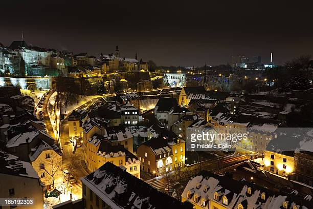 Luxembourg by night with snow - past and present