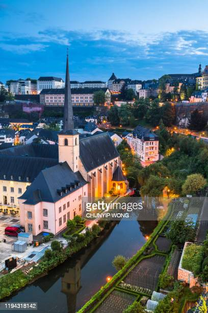luxembourg city downtown dusk - luxembourg benelux stock pictures, royalty-free photos & images