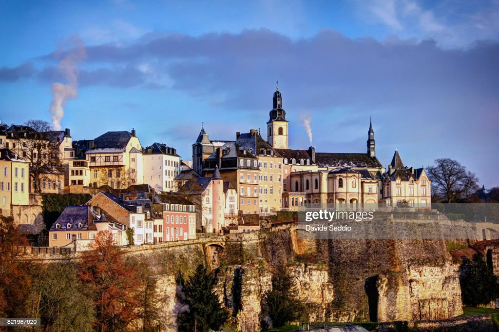 Luxembourg city skyline with St Michael church : Stock Photo