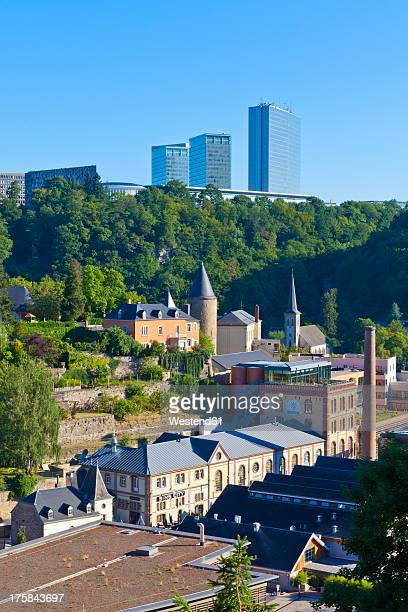 luxembourg, clausen district and european quarter in background - luxembourg city luxembourg stock photos and pictures