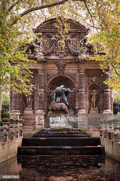 Luxembourg Gardens fountain in autumn season