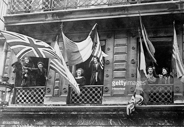 Luxembourg girls happily greet the American Army of Occupation 1918