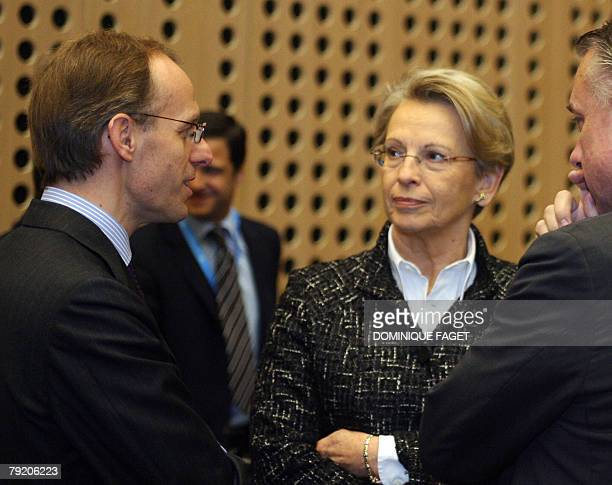 Luxembourg Justice Minister Luc Frieden talks with French Interior Minister Michele AlliotMarie before an Informal meeting of European Justice...