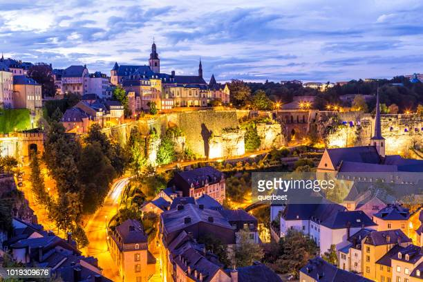 luxembourg kirchberg at sunset - luxembourg benelux stock pictures, royalty-free photos & images