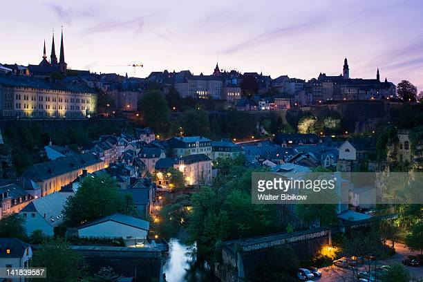 Luxembourg, Luxembourg City, Grund area lower town, evening