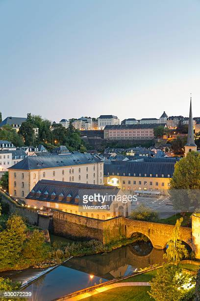 Luxembourg, Luxembourg City, Grund, View from the Casemates du Bock to Neumuenster convent at Alzette river in the evening