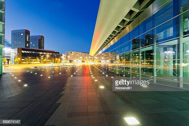 Luxembourg, Luxembourg City, Modern buildings at the Place de l'Europe at night
