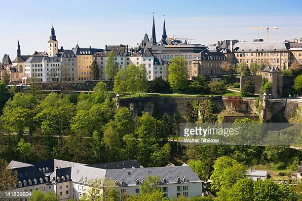 Luxembourg, Luxembourg City, View of upper town from Plateua de Kirchberg