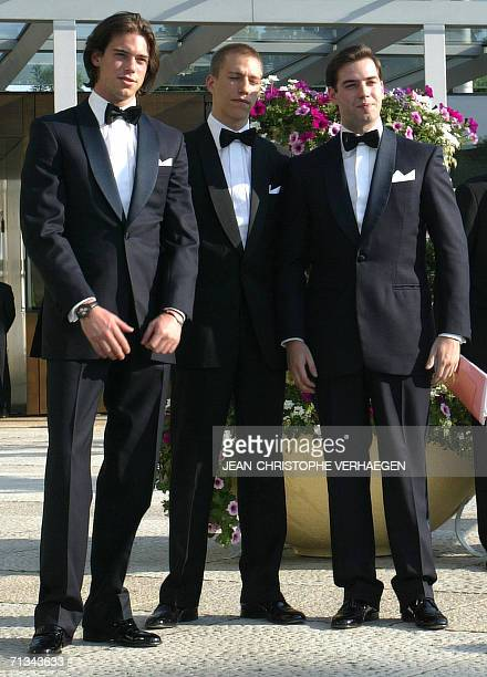 Luxembourg, LUXEMBOURG: Felix of Luxembourg, Louis of Luxembourg and Guillaume of Luxembourg, sons of Grand Duke Henry, arrive at the Grand Theater...