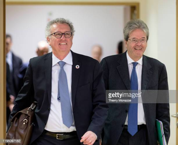 Luxembourg Minister of Finance Treasury Budget Pierre Gramegna and the EU Commissioner for Economy Paolo Gentiloni arrive for an EU EcoFin Ministers...