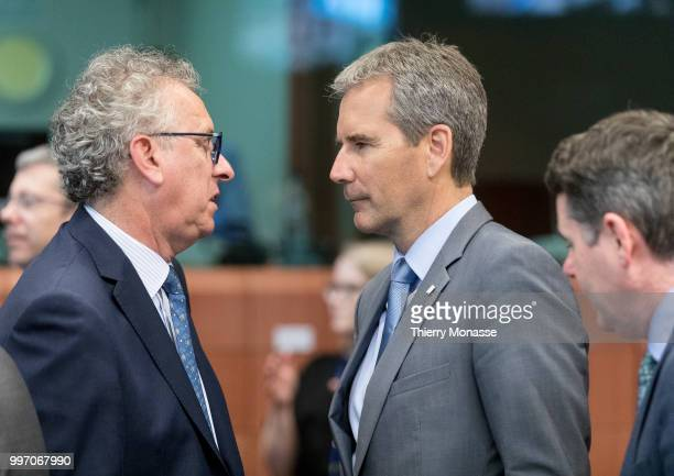 BRUSSELS BELGIUM JULY 12 Luxembourg Minister of Finance Treasury Budget Pierre Gramegna is talking with the Austrian Finance Minister Hartwig Loeger...