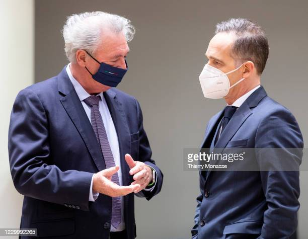 Luxembourg Minister of Foreign Affairs & Immigration Jean Asselborn is talking with the German Minister of Foreign Affairs Heiko Maas prior an EU...