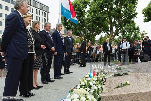 Luxembourg Minister of Foreign Affairs Jean Asselborn and US Secretary of State John Kerry pay tribute to the victims of the July 14 attack in Nice...