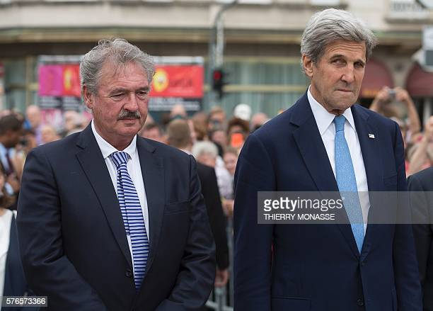 Luxembourg Minister of Foreign Affairs Jean Asselborn and US Secretary of State John Kerry attend a ceremony to pay tribute to the victims of the...