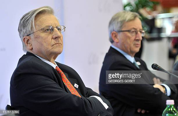 Luxembourg Prime Minister and Eurogroup president JeanClaude Juncker and European Central Bank president JeanClaude Trichet attend a press conference...