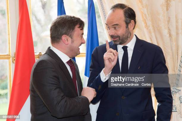 Luxembourg Prime Minister Xavier Bettel and French Prime Minister Edouard Philippe hold a joint press conference at the Hotel de Matignon after a...