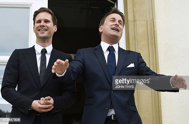 Luxembourg Prime Minister Xavier Bettel and his companion Belgian architect Gauthier Destenay pose outside City Hall during their wedding in...
