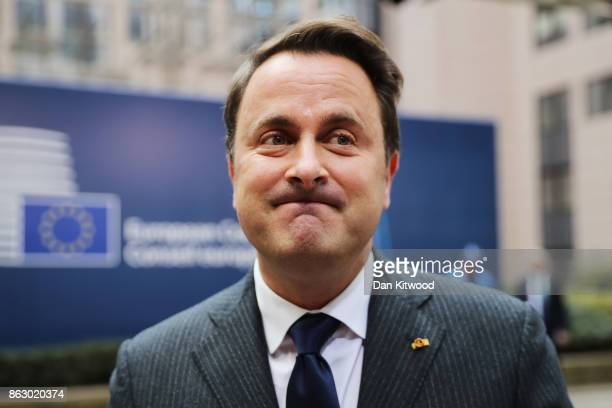 Luxembourg Prime Minister Xavier Bettel arrives ahead of a European Council Meeting at the Council of the European Union building on October 19 2017...