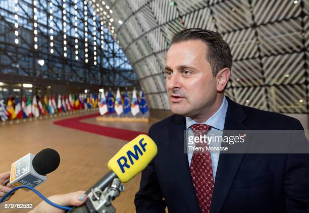 Luxembourg Prime Minister Xavier Bettel is talking to media prior an EUEastern partnership summit on November 24 2017 in Brussel Belgium