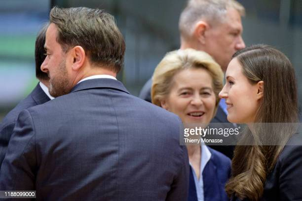 Luxembourg Prime Minister Xavier Bettel is talking with the President of the European Commission Ursula von der Leyen and the Finnish Prime Minister...