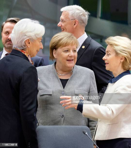 Luxembourg Prime Minister Xavier Bettel is talking with the President of the European Central Bank Christine Lagarde, the German Chancellor Angela...