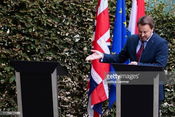 Luxembourg Prime Minister Xavier Bettel speaks to the media following talks with British Prime Minister Boris Johnson on September 16 2019 in...