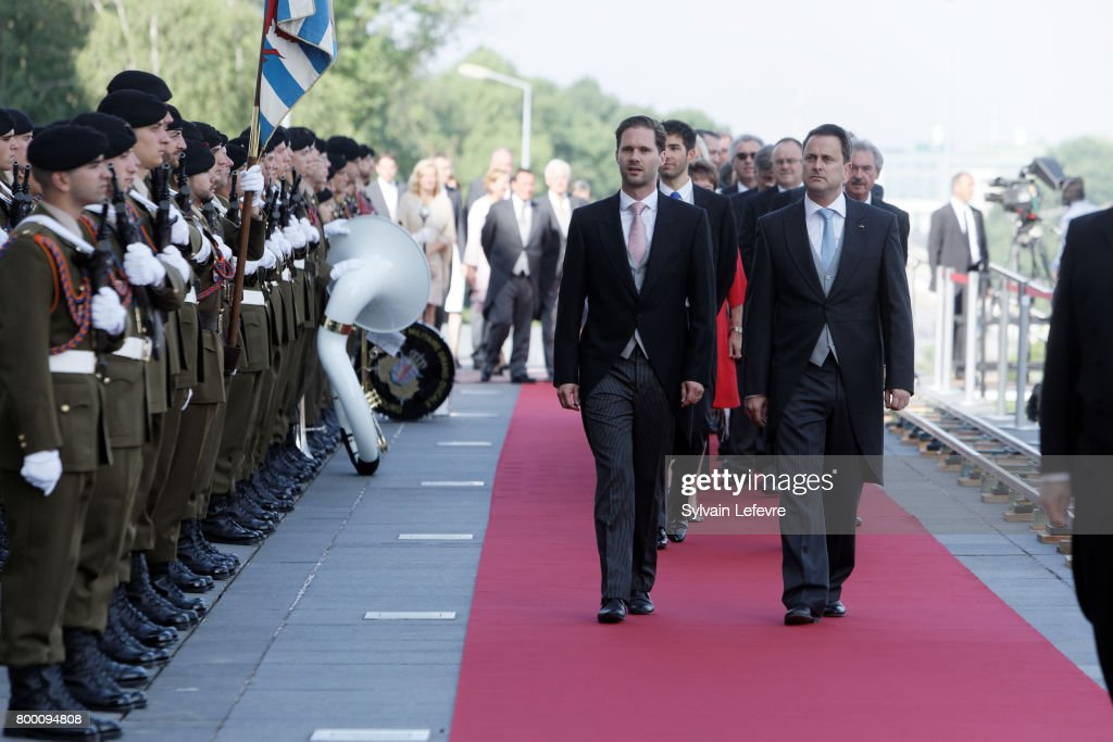Luxembourg prime minster Xavier Bettel (R) and his husband arrive at Luxembourg Philarmonie hall for official reception of National Day on June 23, 2017 in Luxembourg, Luxembourg.