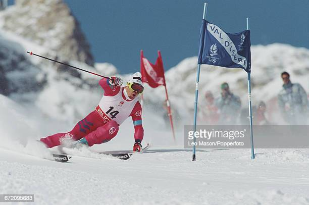 Luxembourg skier Marc Girardelli pictured in action to finish in second place to win the silver medal in the Men's giant slalom skiing event held at...
