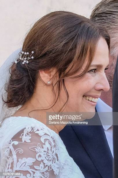 Luxembourgborn actress Desiree Nosbusch and exit from the church of Oderzo after their marriage on September 8 2018 in Oderzo Italy