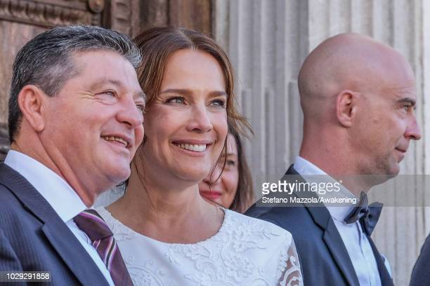 Luxembourgborn actress Desiree Nosbusch exit from the church of Oderzo after their marriage on September 8 2018 in Oderzo Italy