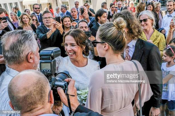 Luxembourgborn actress Desiree Nosbusch exits the church of Oderzo after her marriage to German cameraman Tom Alexander Bierbaumer on September 8...