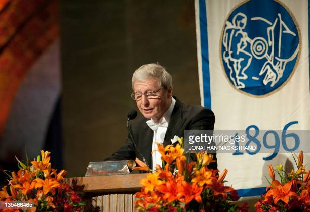 Luxembourgborn Frenchman professor Jules A Hoffmann delivers a speech at the Nobel banquet held at the Stockholm City Hall on December 10 2011 AFP...